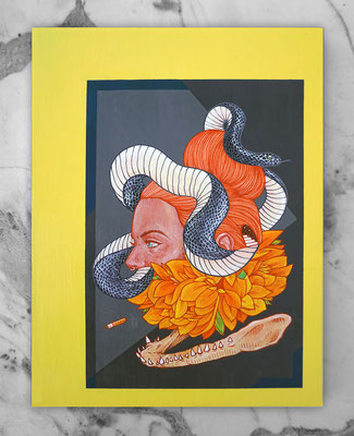 MEDUSA. 40x29,5 cm.  Acrylic on wood. Canvas for HYBRID ART FAIR with ARTEUPARTE gallery.