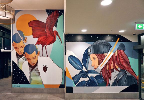 ENCOUNTER. Wall painted for BRISBANE STREET ART FESTIVAL, Brisbane, Australia. 2019.