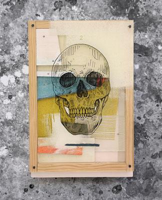 Kalaka 2. collab with Xabier Anunzibai. Acrylic on wood, methacrylate and sandpaper composition.  29x19.