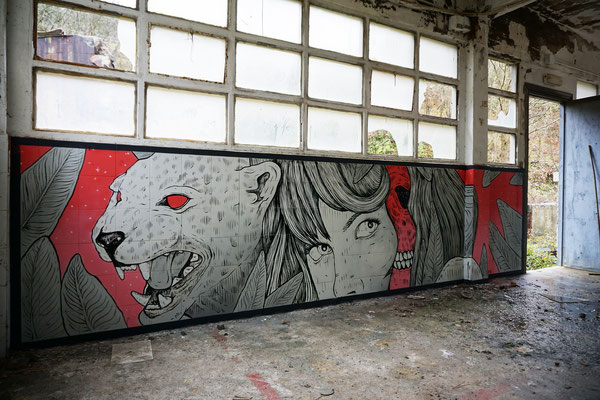 Quick wall in abandoned place. 2018.
