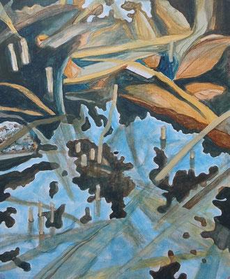 Tauwasser II, 2018, Acryl auf Papier, 46 x 38 cm