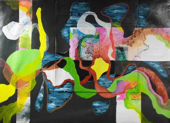 Wasserwelt unter Gelb, 41,5 x 60 cm, Collage u. Mischtechnik auf Karton