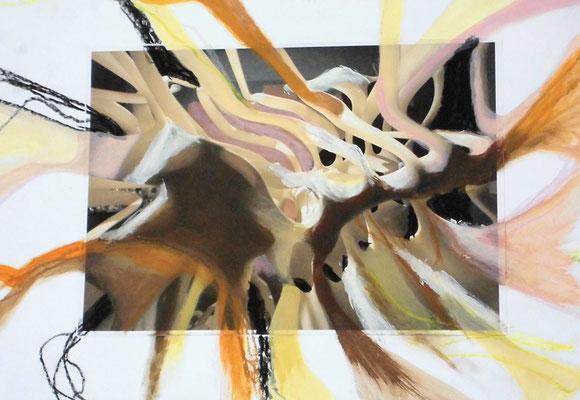 Mark und Bein, 29,7 x 42 cm, Acryl, Fotocollage, Ölkreide auf Papier