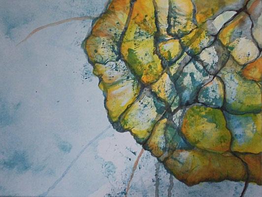 Aurelia, 2018, Acryl, Aquarell auf Leinwand, 30 x 40 cm