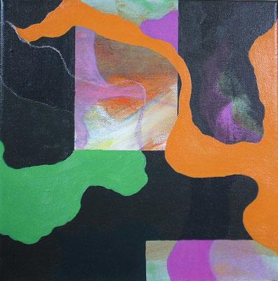 Wuchern und Träumen 5/I – 9/I, je 30 x 30 cm, Acryl,  Öl, Ölkreide, auf Leinwand