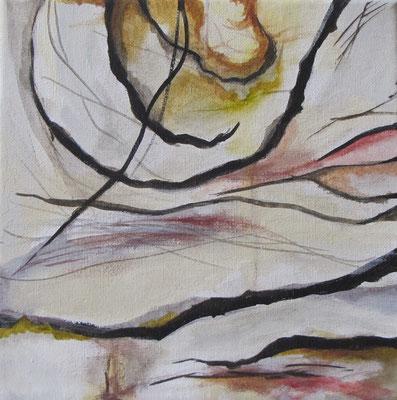 Kleine Verwitterungen III, Acryl u. Tusche auf Leinwand, 20 x 20 cm