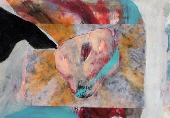 Loch im Herz, 29,7 x 42 cm, Acryl, Fotocollage auf Papier