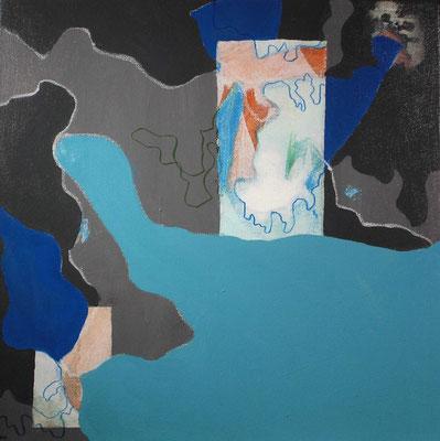 Wuchern und Träumen 1/I – 4/I, je 40 x 40 cm, Acryl, Öl, Ölkreide, Fineliner auf Leinwand