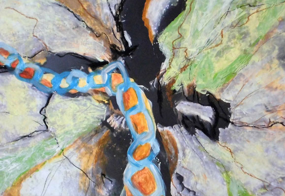 verkettet, 29,7 x 42 cm, Acryl, Fotocollage, Ölkreide auf Papier
