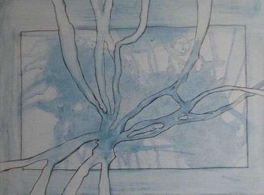 Vereist, 2017, Pigment und Graphit auf Leinwand, 30 x 40 cm