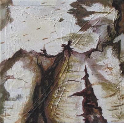 Kleine Verwitterungen VII, Acryl u. Tusche auf Leinwand, 20 x 20 cm