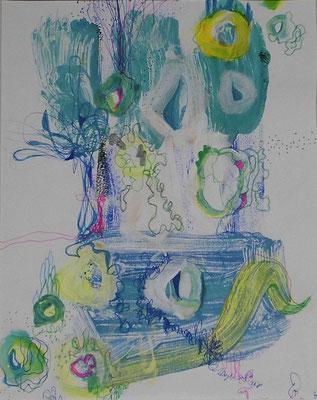 Blubber Blubb, 30 x 20 cm, Acryl, Fineliner auf Papier