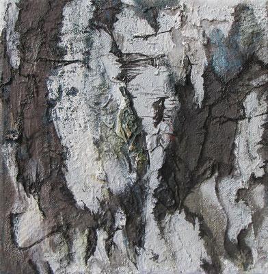 Kleine Verwitterungen II, Acryl u. Tusche auf Leinwand, 20 x 20 cm