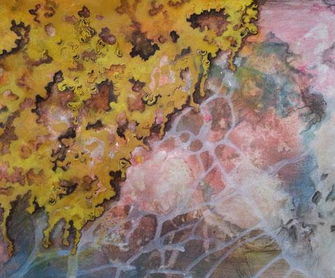 Flechtwerk auf Stein, 2017, Acryl, Fineliner auf Papier, 38 x 45 cm