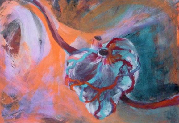 Hängendes Herz, 29,7 x 42 cm, Acryl auf Papier