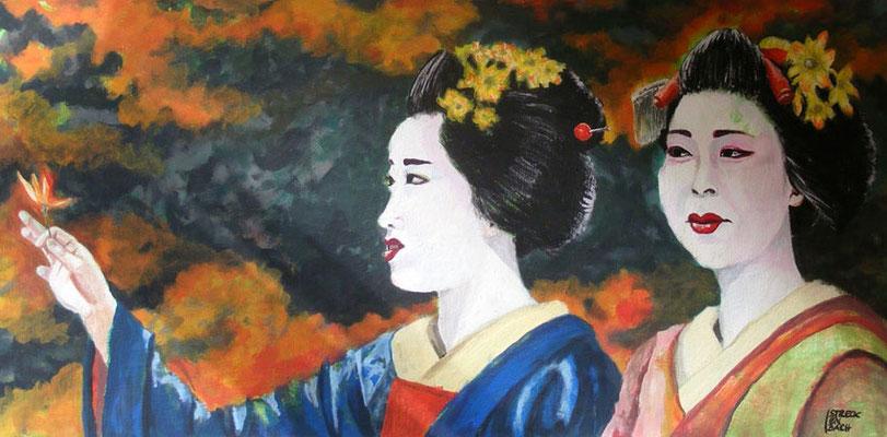 November in Kyoto, 50 x 100 cm, Acryl auf Leinwand