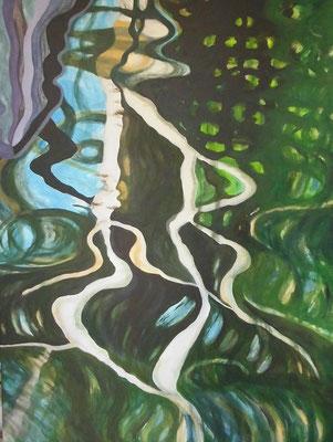 Uferschlingen, 2018, Acryl auf Lwd, 80 x 60 cm
