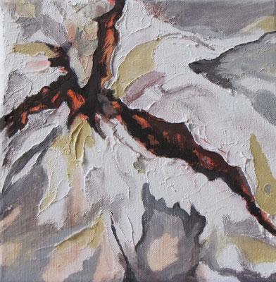 Kleine Verwitterungen IV, Acryl u. Tusche auf Leinwand, 20 x 20 cm