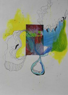 Wuchern und Wandern, 30 x20 cm, Acryl, Fineliner, Collage auf Papier