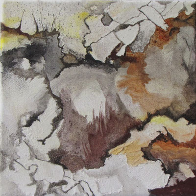 Kleine Verwitterungen VI, Acryl u. Tusche auf Leinwand, 20 x 20 cm