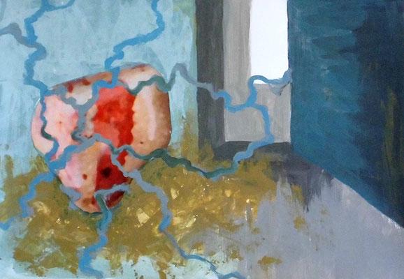 Verwicklungen, 29,7 x 42 cm, Acryl u. Fotocollage auf Papier