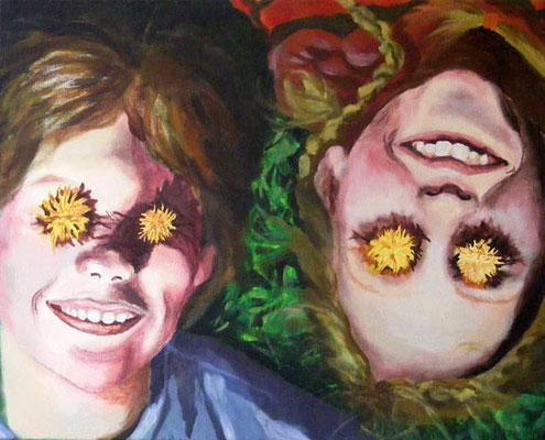 Sonnenkinder, 40 x 50 cm, Acryl auf Leinwand
