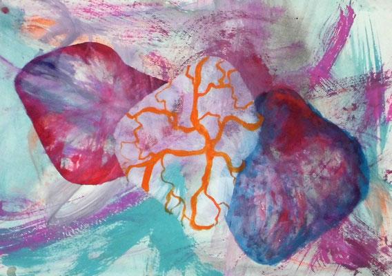 Herzgetümmel, 29,7 x 42 cm, Acryl auf Papier