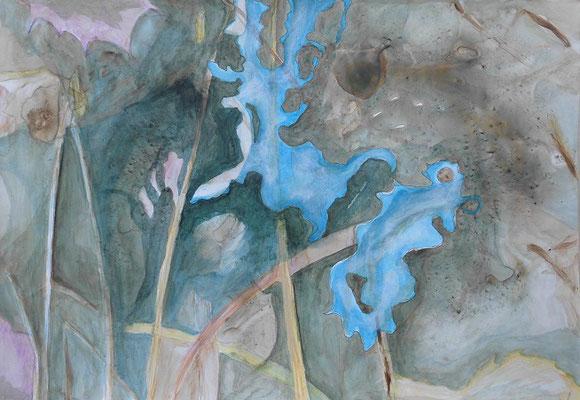 Tauwasser I, 2018, Acryl auf Steinpapier, 35 x49,5 cm