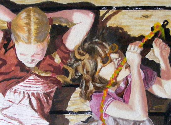 Mädchen auf dem Steg, 30 x 40 cm, Acryl u. Öl auf Leinwand