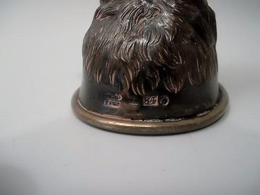 """""""Stirrup Cup"""" Russland 1857 Silber Dackel Kopf 84 Zolotniki gepunzt"""