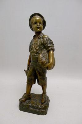 Bronzefigur Junge mit Brotlaib und Weinkrug Eutrope BOURET (1833-1906) H 28,5cm
