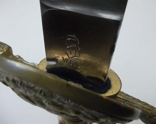Hirschfänger Hersteller WKC mit geätzter Klinge, Länge 55 cm