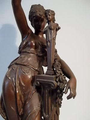 Jugendstil ~ 1890 H 56,5cm Bronze-Spritzguss