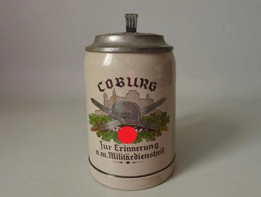 """2.WK Bierkrug m. Zinndeckel """"Coburg Zur Erinnerung an meine Dienstzeit"""""""