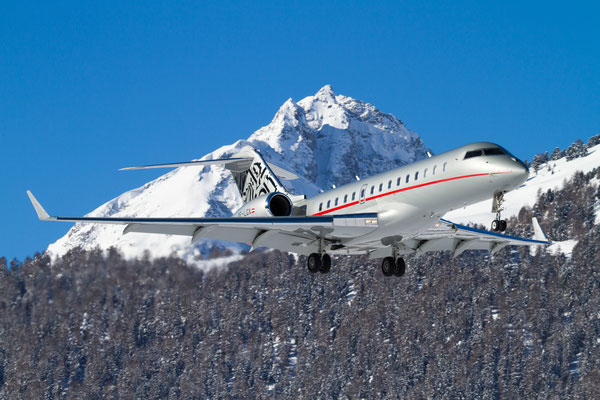 VistaJet Global Express approaching Winter Wonderland... Samedan - St.Moritz, Switzerland