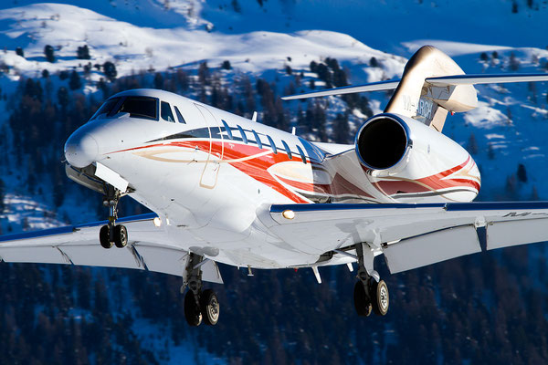 M-ARCH, Citation X approaching Winter Wonderland..., Samedan - St.Moritz, Switzerland