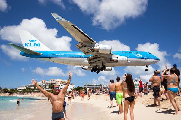 PH-BFA, KLM Boeing 747, Maho Beach, Saint Maarten