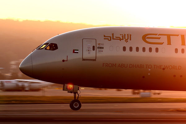 Etihad B787 Dreamliner: Golden aircraft - golden light, Zürich-Kloten, Switzerland