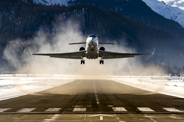 N313RG, Gulfstream G650 departing St. Moritz for New York