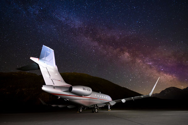 Vistajet Challenger under the the milky way, Samedan - St.Moritz, Switzerland