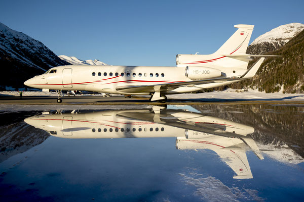 HB-JOB, Falcon 7X reflecting in a pond, Samedan - St.Moritz, Switzerland