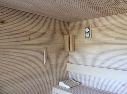 Saunawände und Einrichtung