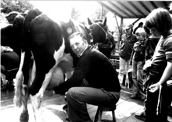 """Ehemaliger Ortsbürgermeister Rudolf Schröder, Hüsede, melkt eine Kuh auf der Tanzfläche des historischen Marktes - und die Milchkuh hielt """"stille"""" beim Markttrubel"""
