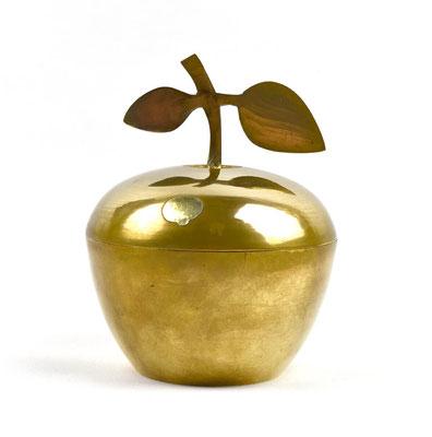 Messingdose, Apfeldose, Messingapfel, 60s, 70s, Goldapfel, goldener Apfel, Mid Century,