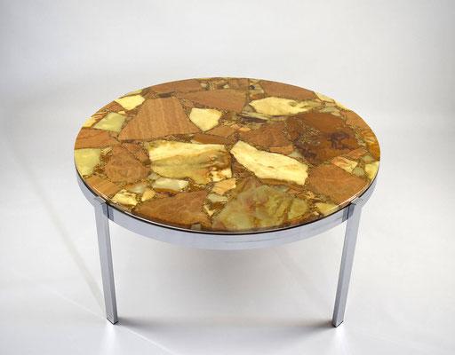 Marble Table, Marmortisch, Epoxydharz Tisch, Marmortisch rund 60er Jahre, Saarinen, Eames, Clubtisch, Coffeetable 60s,