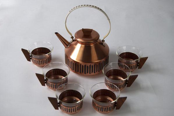 Teeservice, Kupfer, 60s, 50s, Tea, Schott, Jenaer Glas,