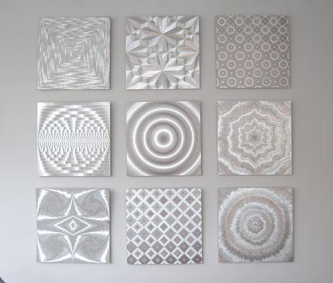 Silbergrafiken, 70er Jahre Grafiken, Barbara Lüdinghausen, 3D Silbergrafik, Op Art, 70s, 60s,