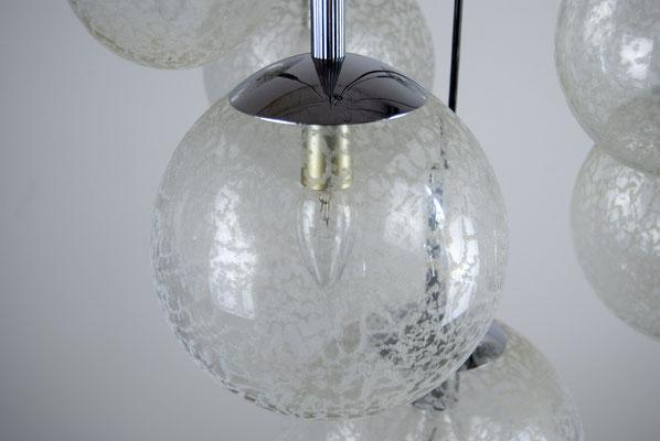 70s Kugellampe, Doria Leuchten, Kugellampe, Deckenlampe 70er Jahre, Kaskadenleuchte, 7er Kugelleuchte, Staff, Kaiser Leuchten, Hillebrand,