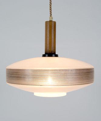Eßzimmer Leuchte Glas / Teak Skandinavien 1960