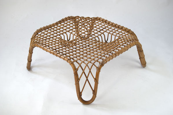 Rattan Coffee Table 60s, Vittorio Bonacina, Italian Design 60s, Franco Albini, Vintage Rattan Coffee Table, Rattan Tisch 60er Jahre